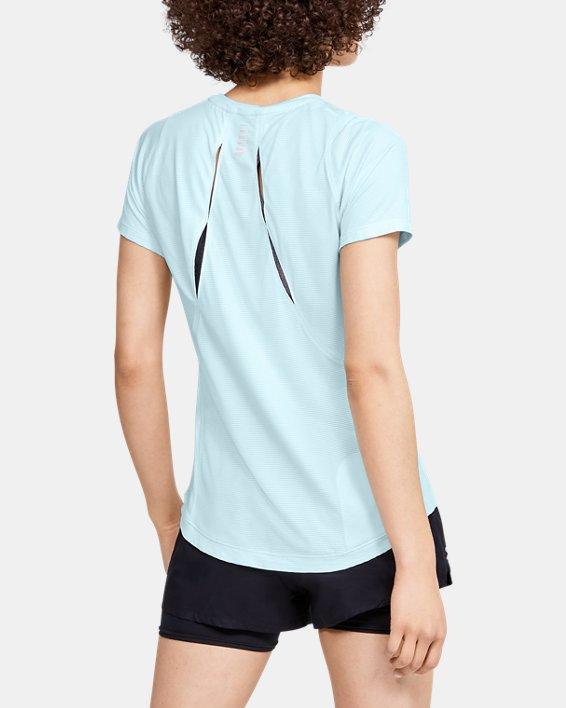 Women's UA Qualifier Iso-Chill Embossed Short Sleeve, Blue, pdpMainDesktop image number 2