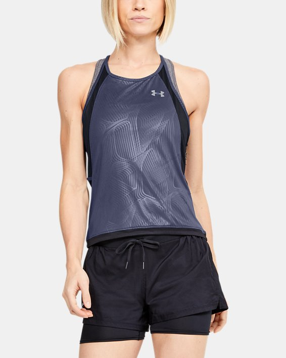 Women's UA Qualifier Iso-Chill Embossed Tank, Blue, pdpMainDesktop image number 0