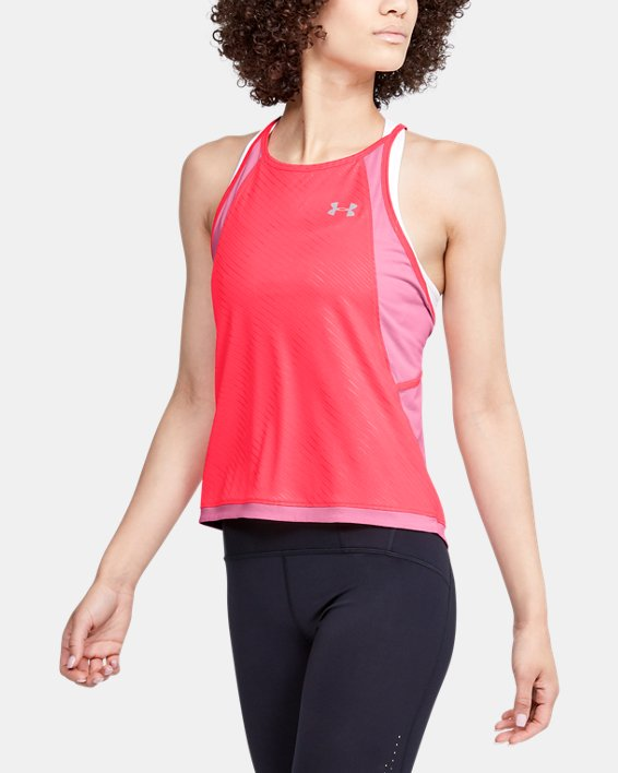 Women's UA Qualifier Iso-Chill Embossed Tank, Pink, pdpMainDesktop image number 0