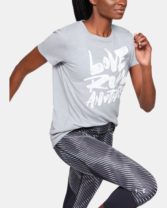 Women's UA Love Run Another Short Sleeve, Gray, pdpMainDesktop image number 0