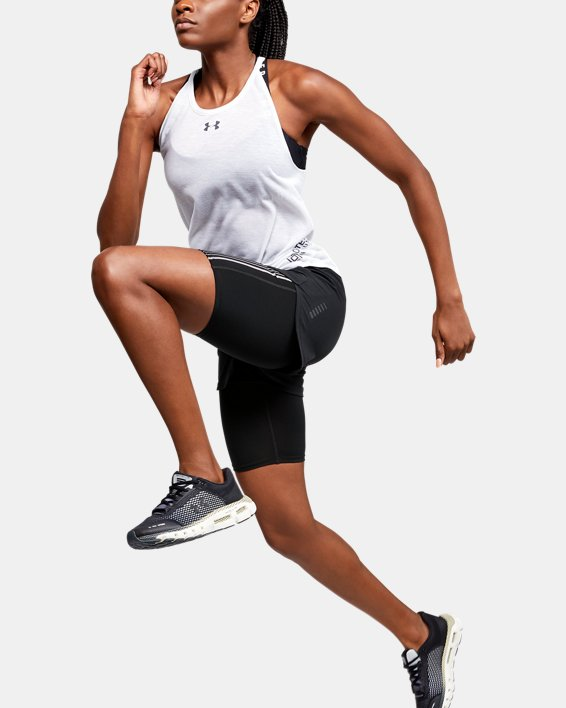 Short 2-en-1 UA RUSH™ Run pour femme, Black, pdpMainDesktop image number 1