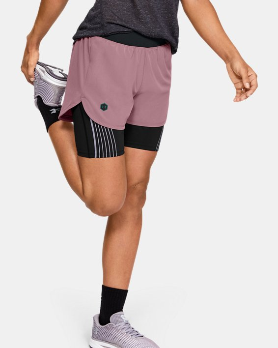 Women's UA RUSH™ Run 2-in-1 Shorts, Pink, pdpMainDesktop image number 0