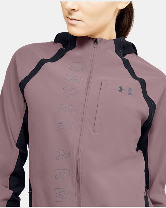 Women's UA Qualifier OutRun The Storm Jacket, Pink, pdpMainDesktop image number 5
