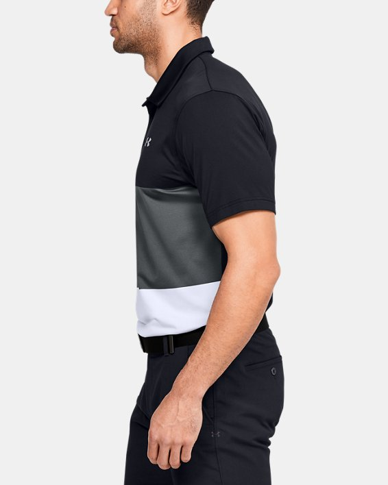 Men's UA Playoff Polo Colorblock, Black, pdpMainDesktop image number 3