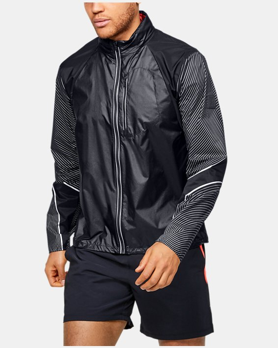 Men's UA Run Impasse Wind Reflect Jacket, Black, pdpMainDesktop image number 1