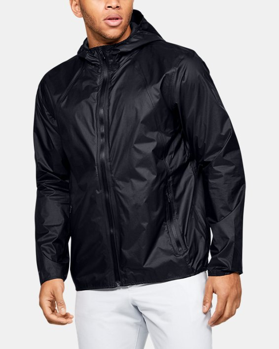 Men's UA Impasse Rain Shell Jacket, Black, pdpMainDesktop image number 0