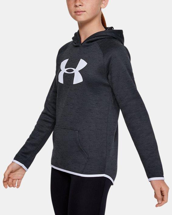 Girls' Armour Fleece® Big Logo Twist Hoodie, Black, pdpMainDesktop image number 3