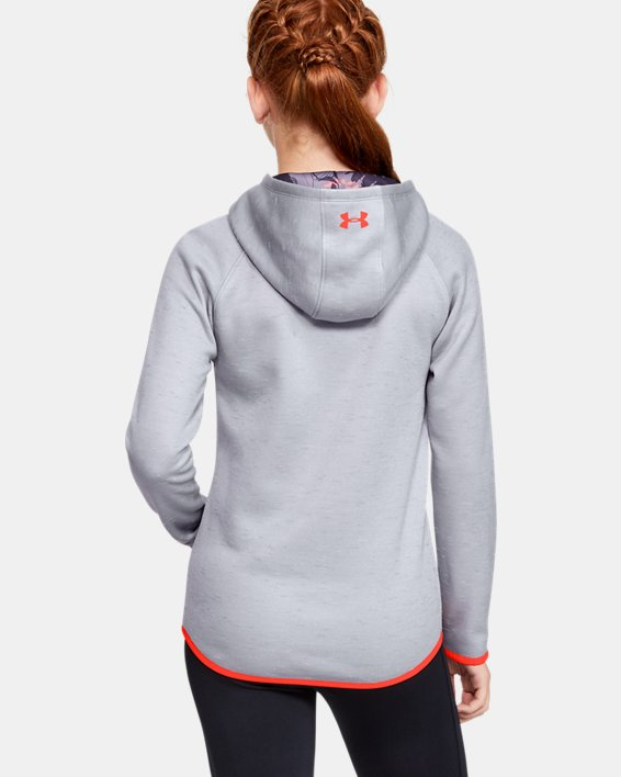 Girls' Armour Fleece® Big Logo Twist Hoodie, Gray, pdpMainDesktop image number 2