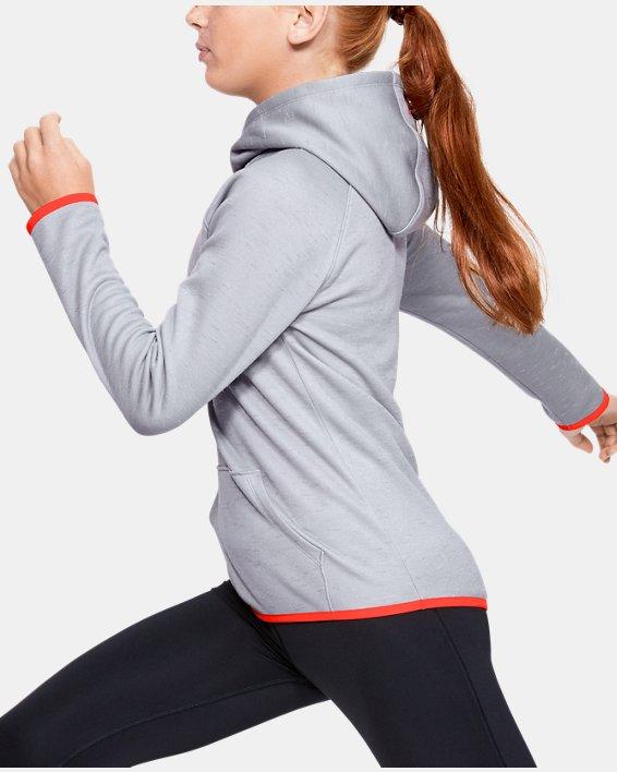 Girls' Armour Fleece® Big Logo Twist Hoodie, Gray, pdpMainDesktop image number 3