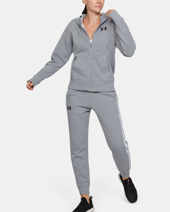 Women's UA Performance Originators Fleece LC Logo Full Zip Hoodie, Gray, pdpMainDesktop image number 1