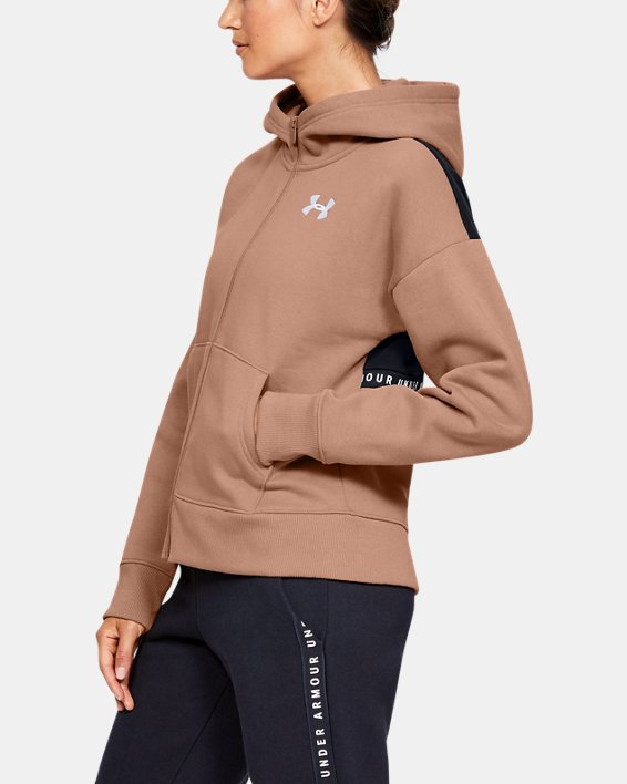 Sweat à capuche UA Originators Fleece LC Logo Full Zip pour femme  , Brown, pdpMainDesktop image number 3