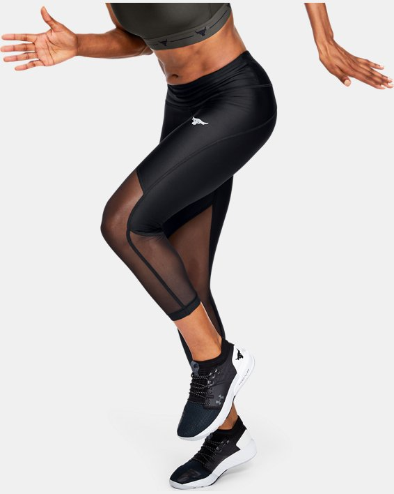 Women's Project Rock HeatGear® Armour Mesh Ankle Crop, Black, pdpMainDesktop image number 1