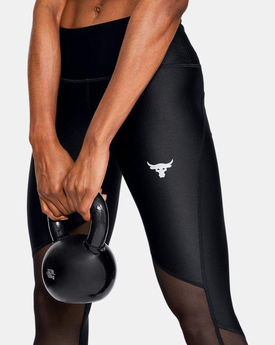 Women's Project Rock HeatGear® Armour Mesh Ankle Crop, Black, pdpMainDesktop image number 3