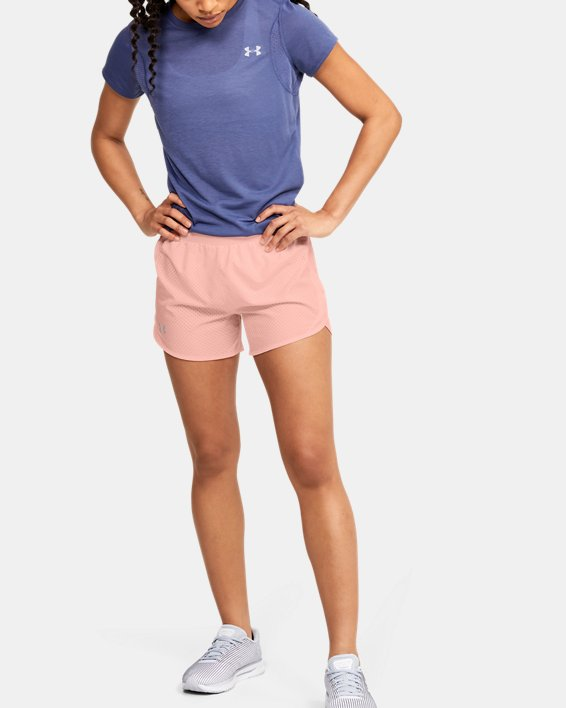 Women's UA Fly-By 2.0 Cire Perforated Shorts, Orange, pdpMainDesktop image number 1
