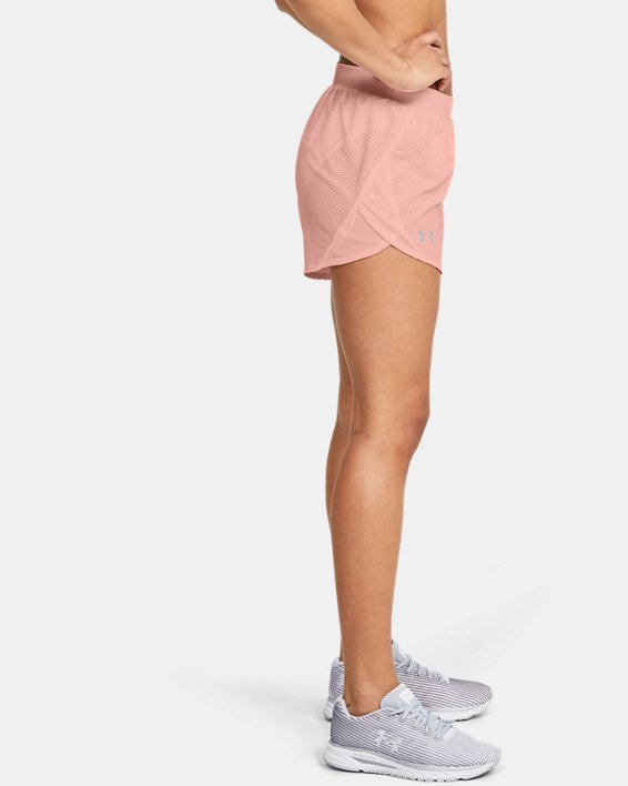 Women's UA Fly-By 2.0 Cire Perforated Shorts, Orange, pdpMainDesktop image number 3