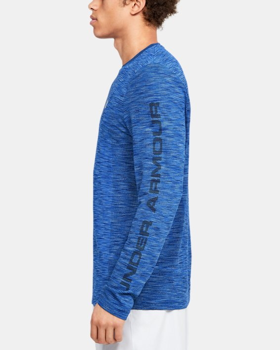 Men's UA Fish Hunter Seamless Long Sleeve, Blue, pdpMainDesktop image number 3