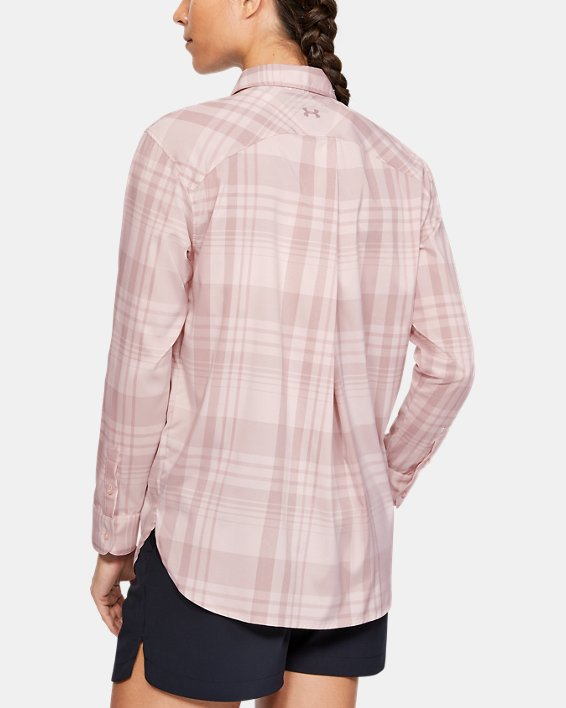 Women's UA High Tide Plaid Long Sleeve, Pink, pdpMainDesktop image number 2