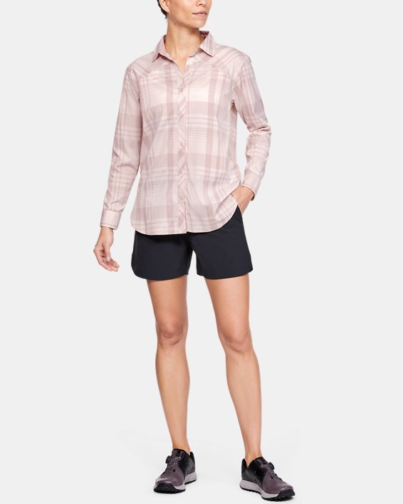 Women's UA High Tide Plaid Long Sleeve, Pink, pdpMainDesktop image number 0