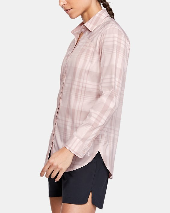 Women's UA High Tide Plaid Long Sleeve, Pink, pdpMainDesktop image number 3