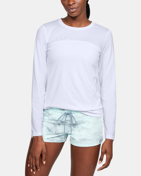 Women's UA Iso-Chill Shore Break Long Sleeve, White, pdpMainDesktop image number 0