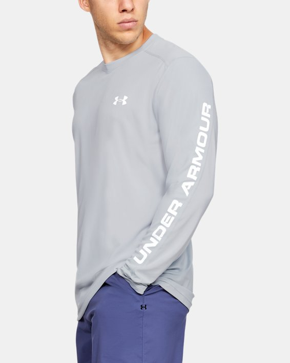 Men's UA Iso-Chill Shore Break Long Sleeve, Gray, pdpMainDesktop image number 3