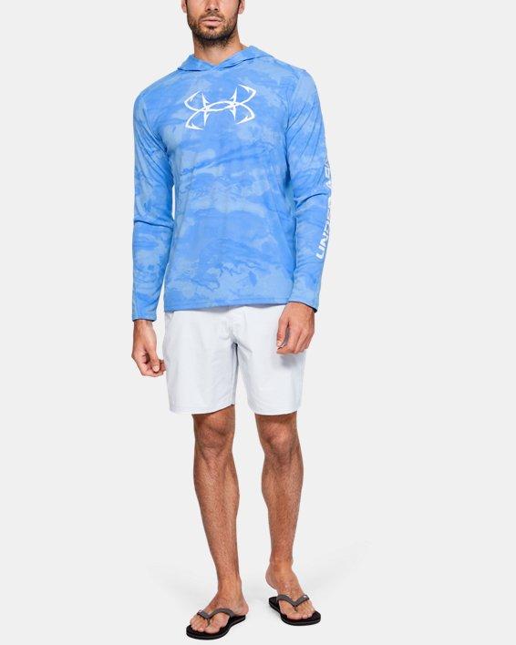 Men's UA Iso-Chill Shore Break Camo Hoodie, Blue, pdpMainDesktop image number 1