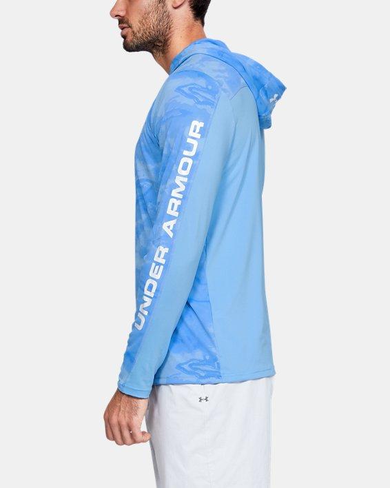 Men's UA Iso-Chill Shore Break Camo Hoodie, Blue, pdpMainDesktop image number 3