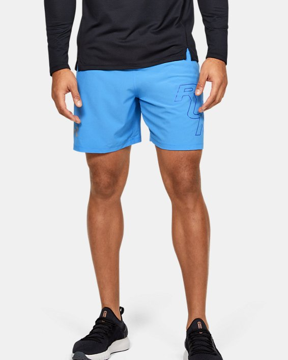 "Men's UA SpeedPocket 7"" Graphic Shorts, Blue, pdpMainDesktop image number 1"
