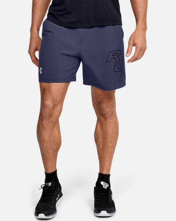 "Men's UA SpeedPocket 7"" Graphic Shorts, Blue, pdpMainDesktop image number 1"
