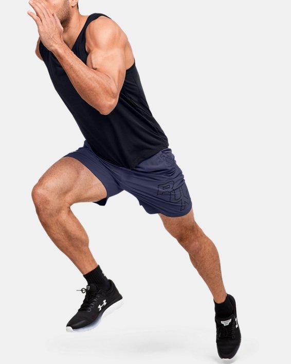"Men's UA SpeedPocket 7"" Graphic Shorts, Blue, pdpMainDesktop image number 0"