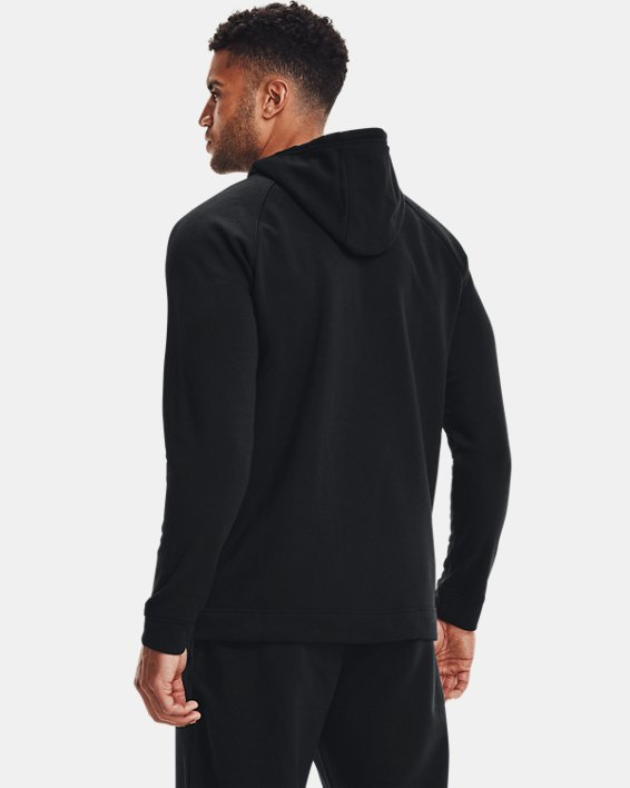 Men's UA Hustle Fleece Full Zip Hoodie, Black, pdpMainDesktop image number 2