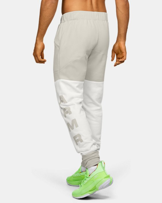 Men's UA Moments Fleece Pants, White, pdpMainDesktop image number 2