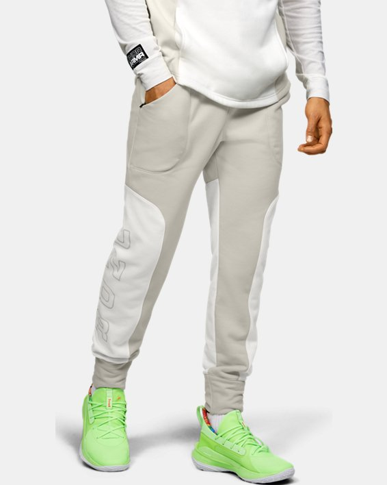 Men's UA Moments Fleece Pants, White, pdpMainDesktop image number 0