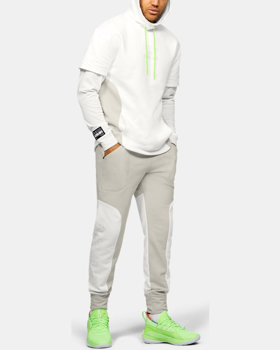 Men's UA Moments Fleece Pants, White, pdpMainDesktop image number 1