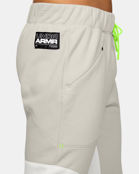 Men's UA Moments Fleece Pants, White, pdpMainDesktop image number 5