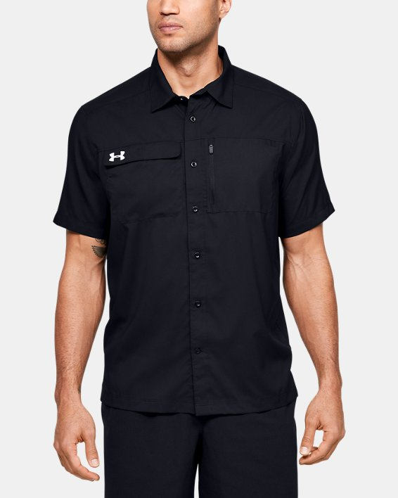 Men's UA Motivator Coach's Button Up Shirt, Black, pdpMainDesktop image number 0
