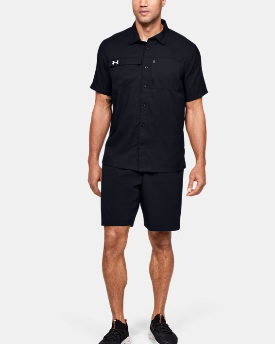 Men's UA Motivator Coach's Button Up Shirt, Black, pdpMainDesktop image number 1