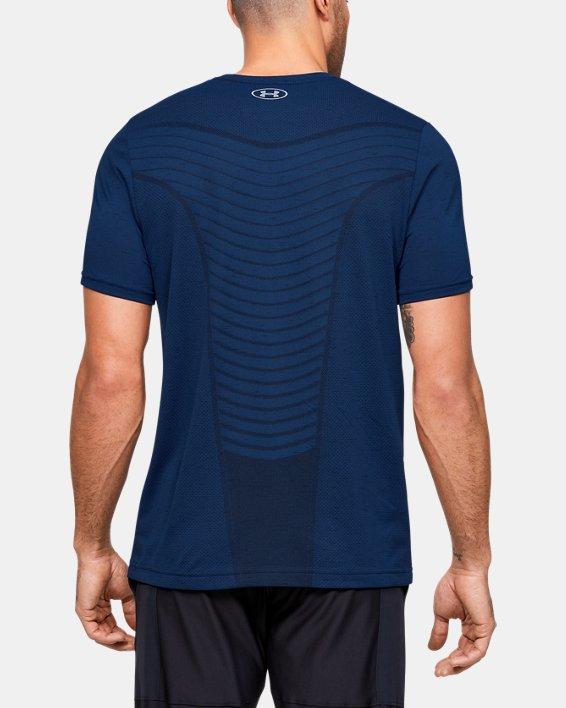 Men's UA Seamless Wave Short Sleeve, Blue, pdpMainDesktop image number 2