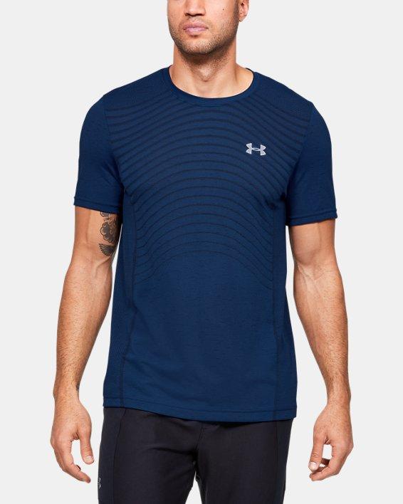 Men's UA Seamless Wave Short Sleeve, Blue, pdpMainDesktop image number 0
