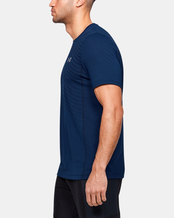 Men's UA Seamless Wave Short Sleeve, Blue, pdpMainDesktop image number 3