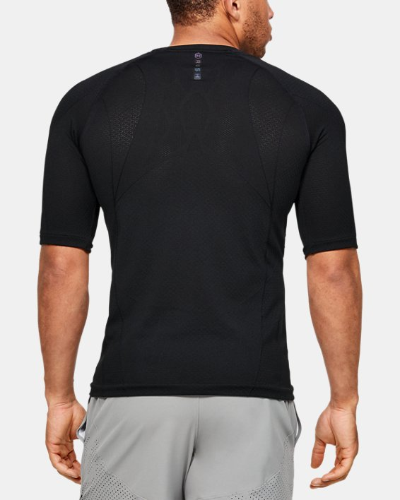 Men's UA RUSH™ Seamless Compression Short Sleeve, Black, pdpMainDesktop image number 2