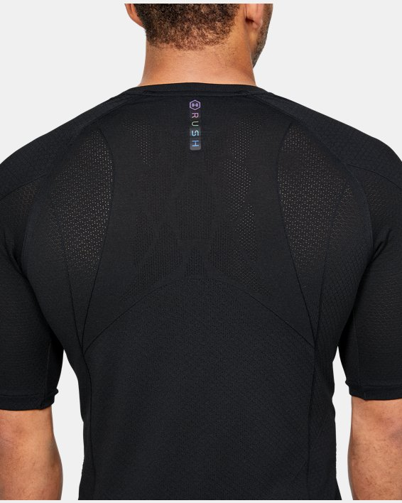 Men's UA RUSH™ Seamless Compression Short Sleeve, Black, pdpMainDesktop image number 6