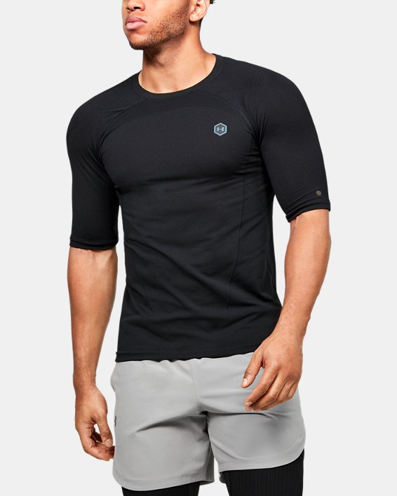 Men's UA RUSH™ Seamless Compression Short Sleeve, Black, pdpMainDesktop image number 0