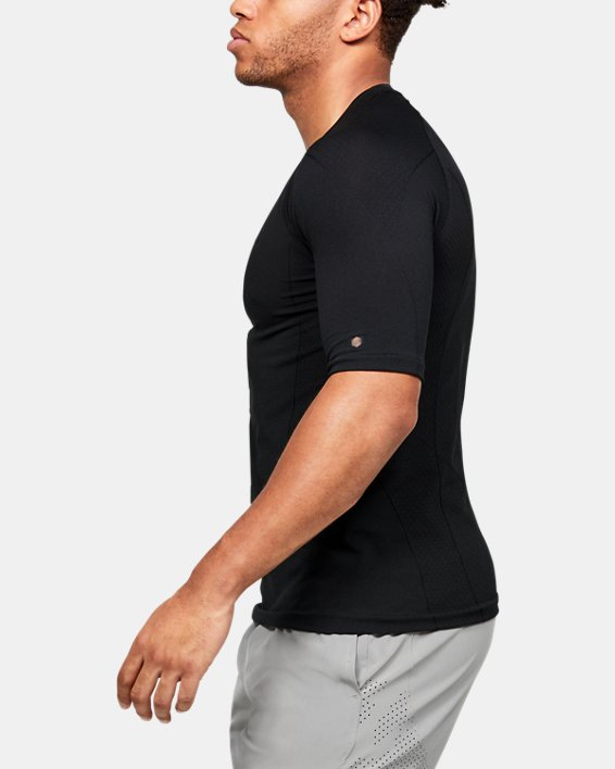Men's UA RUSH™ Seamless Compression Short Sleeve, Black, pdpMainDesktop image number 3