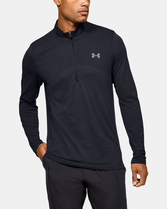 Men's UA Seamless ½ Zip, Black, pdpMainDesktop image number 0