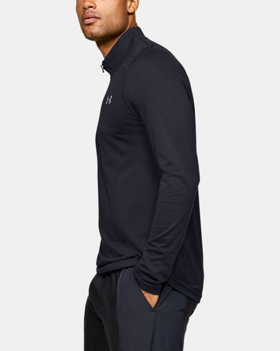 Men's UA Seamless ½ Zip, Black, pdpMainDesktop image number 3