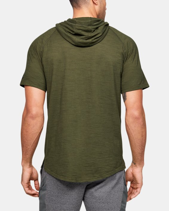 Men's Project Rock Charged Cotton® Short Sleeve Hoodie, Green, pdpMainDesktop image number 2