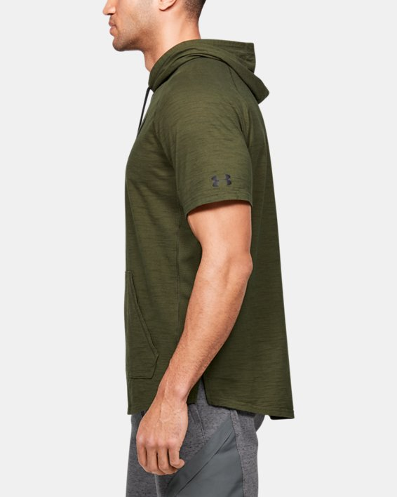Men's Project Rock Charged Cotton® Short Sleeve Hoodie, Green, pdpMainDesktop image number 3
