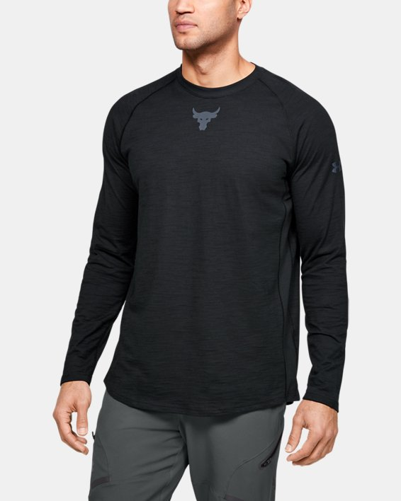 Men's Project Rock Charged Cotton® Long Sleeve, Black, pdpMainDesktop image number 0