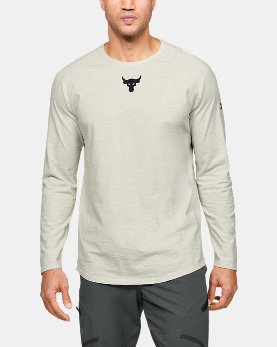 Men's Project Rock Charged Cotton® Long Sleeve, White, pdpMainDesktop image number 0